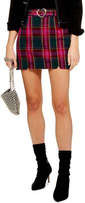 Topshop Heart Buckle Plaid Miniskirt