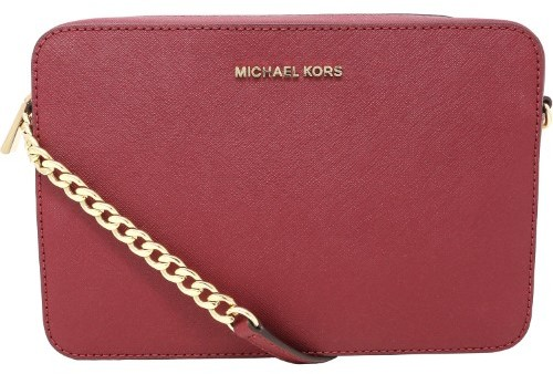Michael Kors Women's Large Jet Set Saffiano Leather Crossbody Cross Body Bag Satchel - Mulberry - MULBERRY - STYLE