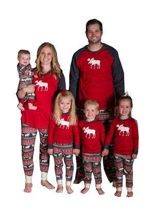 Best for all Family Matching Christmas Pajamas Moose Printed Sleepwear Sets for The Family