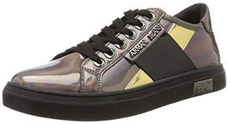 Armani Jeans Women's Low Top Lace Up Metallic Sneaker