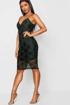 boohoo Lace Piping Detail Midi Dress