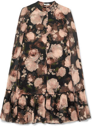 Erdem Constantine Cape-effect Floral-print Silk-chiffon Mini Dress - Black