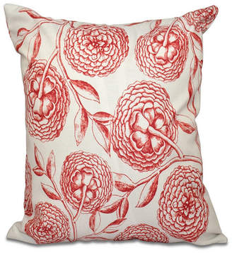 E By Design Antique Flowers 16 Inch Coral Decorative Floral Throw Pillow
