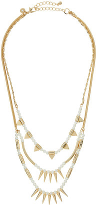 Lydell NYC Golden Triple-Layer Pearly Spike Necklace $40 thestylecure.com