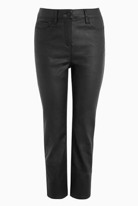 Next Womens Brown Coated Ankle Length Straight Jeans