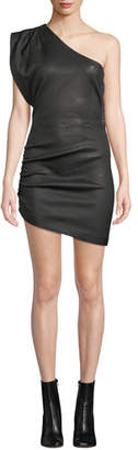 IRO Apria One-Shoulder Fitted Leather Mini Dress