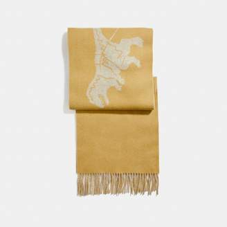 Coach Cashmere Bicolor Rexy And Carriage Scarf