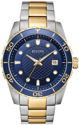 Bulova Men Sport Two-Tone Stainless Steel Bracelet Watch 43mm