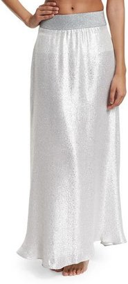 Marie France Van Damme Bright Metallic A-Line Maxi Skirt Coverup $550 thestylecure.com