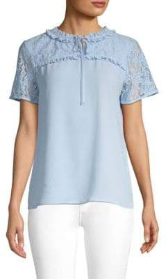 Short-Sleeve Lace-Trimmed Blouse