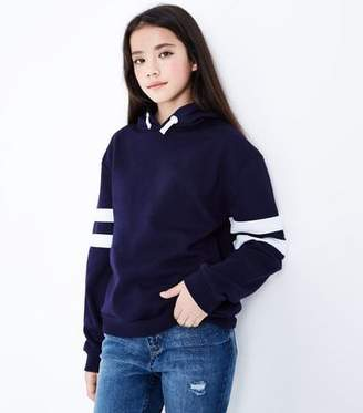 New Look Teens Navy Stripe Sleeve Hoodie