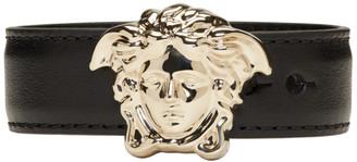 Versace Black & Gold Leather Medusa Bracelet $195 thestylecure.com