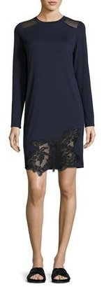Elie Tahari Zuma Long-Sleeve Lace-Trim Shift Dress, Blue/Black $148 thestylecure.com