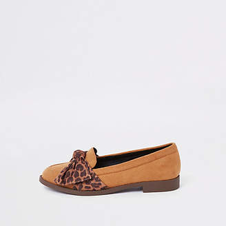 River Island Brown leopard print bow round toe loafers