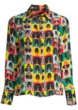 Alice + Olivia Women's Willa Silk Blouse - Stace Photo - Size XS