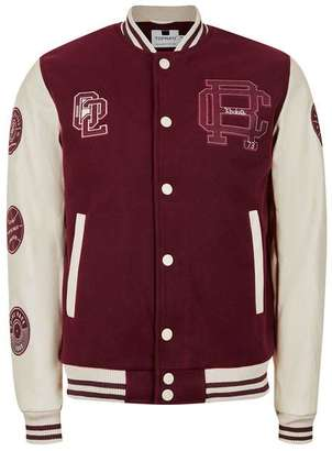 Burgundy Badged Varsity Bomber Jacket $170 thestylecure.com