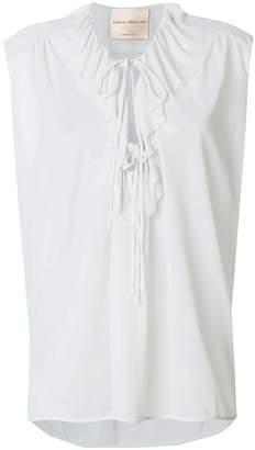 Cavallini Erika tie neck ruffle blouse