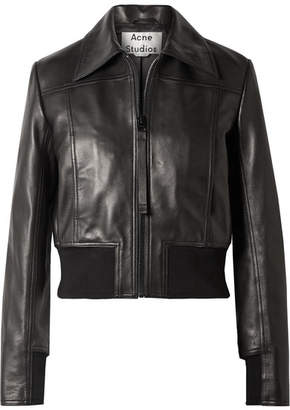 Acne Studios Loranne Ribbed Knit-trimmed Leather Jacket - Black