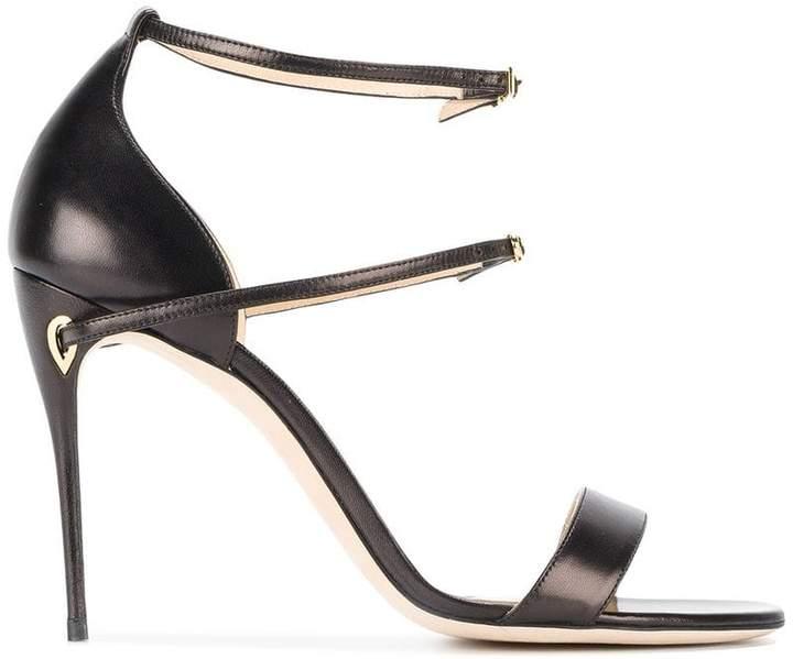 Jennifer Chamandi Black Leather Rolando 105 Sandals