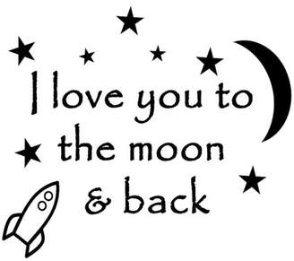 VWAQ I Love You To The Moon and Back Again Baby Nursery Wall Decal Saying Quote Kids Room Decor Decal