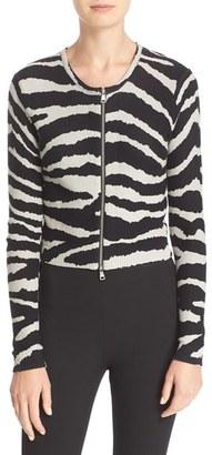 Tracy Reese Zebra Print Crop Cotton Cardigan $228 thestylecure.com