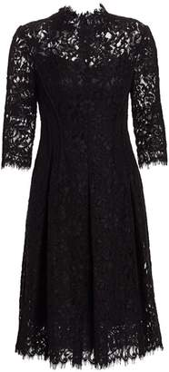 Teri Jon By Rickie Freeman Three-Quarter Sleeve Lace Flare Dress