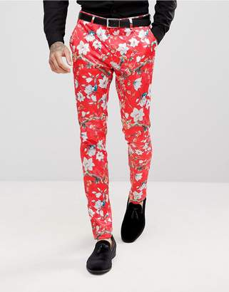 Asos Super Skinny Suit Pants With Red Peacock Print