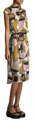 Marc Jacobs Printed Silk Drape-Neck Dress