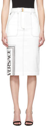 Versace White Denim Logo Stamp Skirt