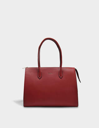 Furla Pin L Satchel Bag in Cherry Calfskin