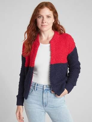 Gap Textured Colorblock Bomber Cardigan Sweater