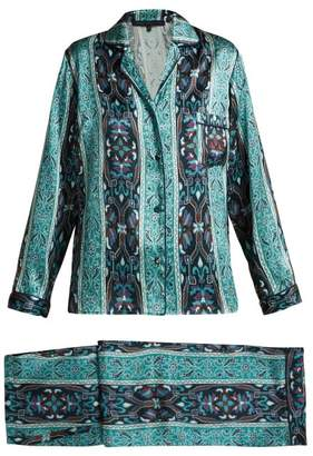 House Of Hackney - Mamounia Silk Satin Pyjamas - Womens - Blue Multi