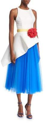 Carolina Herrera Sleeveless Mikado & Tulle Asymmetrical Midi Dress with Flower Belt