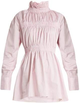 TEIJA Ruffled-collar striped cotton-twill shirt