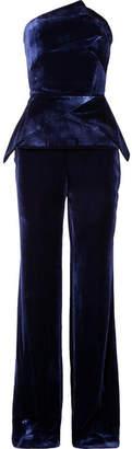 Roland Mouret Carradine Strapless Velvet Jumpsuit - Navy