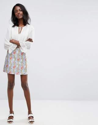 Oasis Poppy Print Jacquard Mini Skirt $64 thestylecure.com