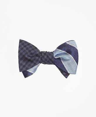 Brooks Brothers Herringbone Texture Framed Stripe with Multi-Check Reversible Bow Tie