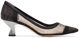 Fendi brown 55 logo mesh leather pumps