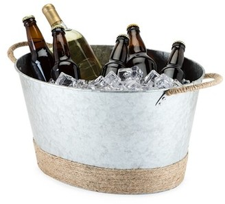 Seaside: Jute Rope Wrapped Galvanized Tub by Twine