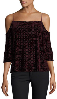 Bailey 44 Isabeli Velvet Cold-Shoulder Top, Berry $168 thestylecure.com