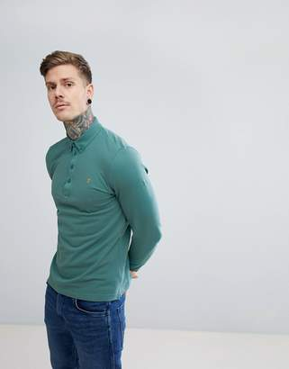 Farah Merriweather Slim Fit Long Sleeve Polo in Green