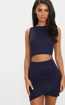 PrettyLittleThing Navy Cut Out Detail Wrap Skirt Bodycon Dress