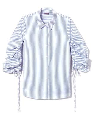 Vince Camuto Striped Ruched-sleeve Shirt