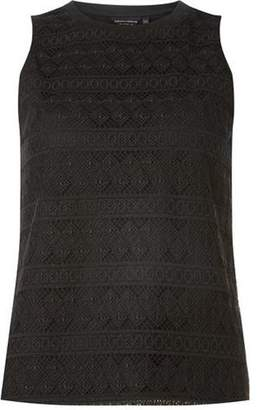 Dorothy Perkins Womens Black Geometric Lace Shell Top