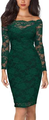 Miusol Women's Off Shoulder Floral Lace Bodycon Party Pencil Dress