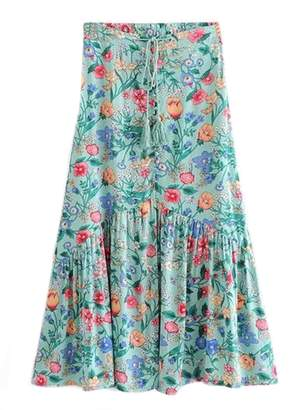 Goodnight Macaroon 'Irena' Floral Print Waist Tied Button-Up Divided Midi Skirt