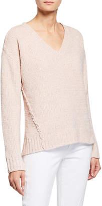 MICHAEL Michael Kors V-Neck Metallic Chenille Seamed Sweater