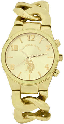 U.S. Polo Assn. USPA Womens Gold Tone Bracelet Watch-Usc40069jc