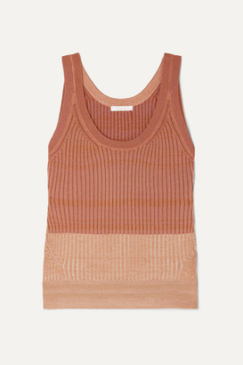 Chloé Ribbed Wool-blend Tank - Bronze