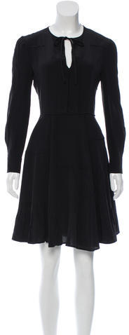 Miu Miu Miu Miu Tie-Accented Long Sleeve Dress